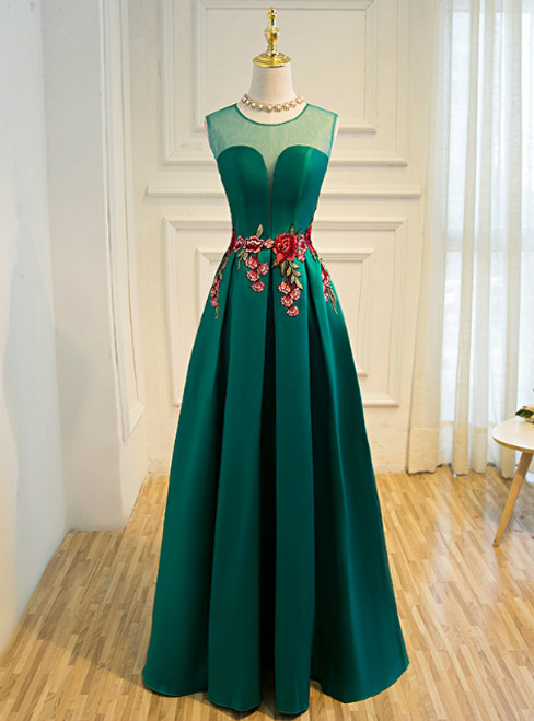 In Stock:Ship in 48 hours Green Satin Lace Up Floor-length Slim Party