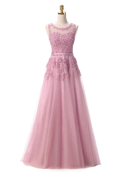 In Stock:Ship in 48 hours Pink Lace Beading Scoop Sleeveless