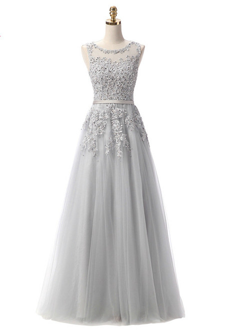 In Stock:Ship in 48 hours Gray Lace Beading Scoop Sleeveless
