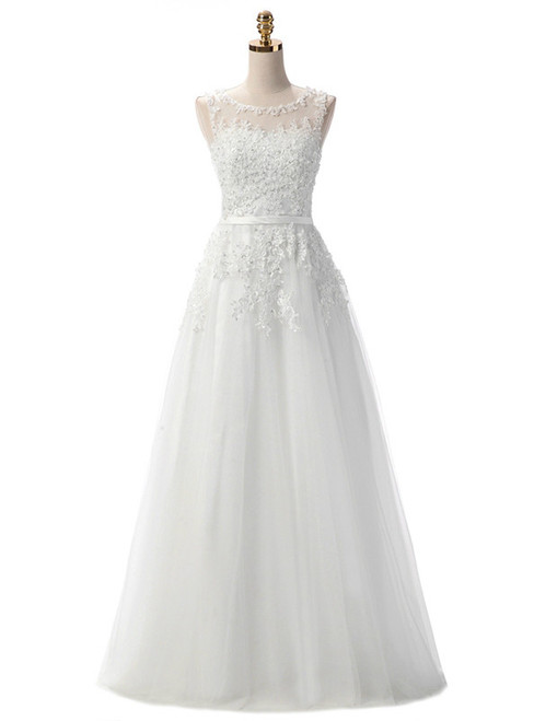 In Stock:Ship in 48 hours White Lace Beading Scoop Sleeveless
