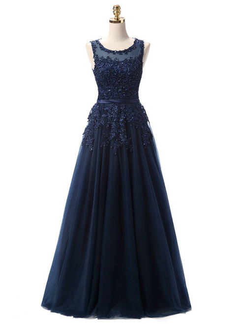 In Stock:Ship in 48 hours Blue Lace Beading Scoop Sleeveless