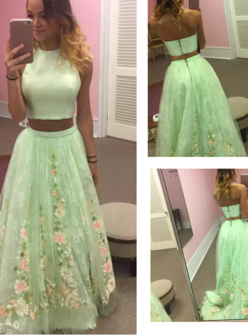 Two Piece Green Sleeveless Formal Evening Gowns Party Dress