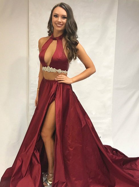 Two Piece Burgundy Long Party Dress With Side Slit