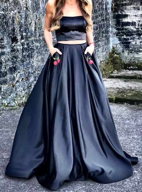 A-line Black Two-piece With Pockets Long Prom Dress