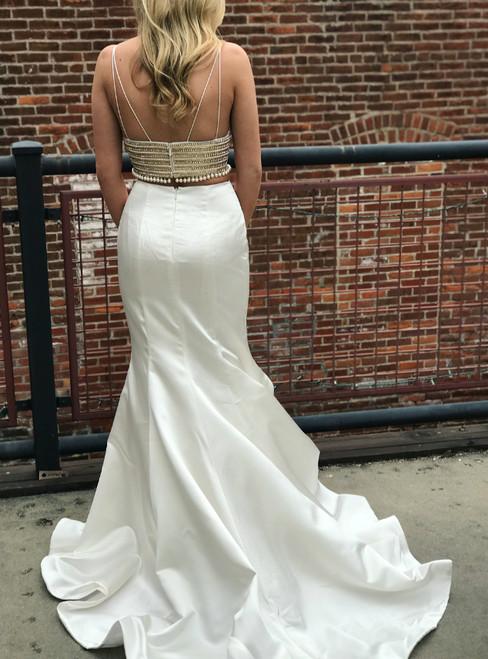 Two Piece White Mermaid Long Evening Dress Beautiful Prom Dress
