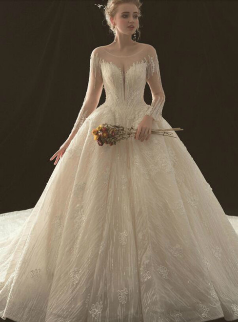 Ball Gown Long Sleeve Open Back Haute Couture Wedding Dresses