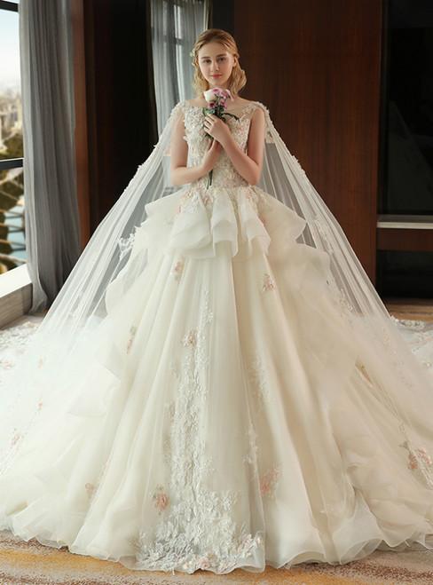 Bride Long Tail Princess Dream Flower Haute Couture Wedding Dresses
