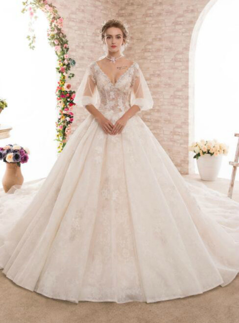 V-neck Ball Gown Backless Short Sleeve Luxury Haute Couture Wedding Dresses