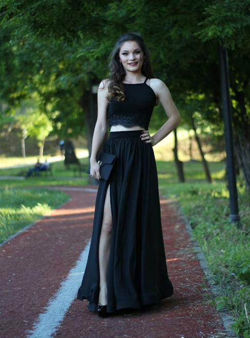 Black Two Piece Prom Dress Formal Gown With Spaghetti Straps