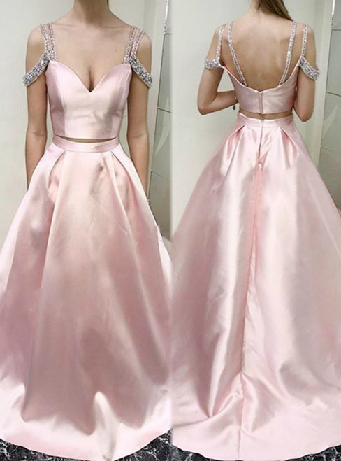 Two Piece Cold Shoulder Pink Floor-length Beading Prom Dress