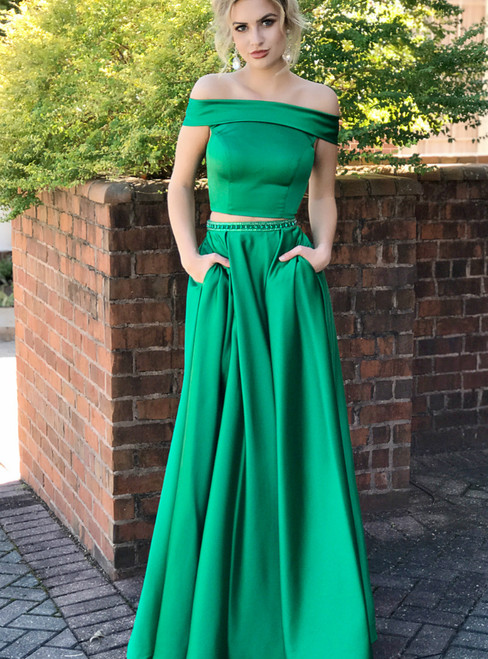 Two Piece Off Shoulder Satin Green Long Prom Dress