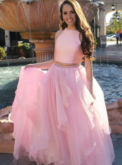 Two Piece Pink Chiffon Satin Open Back Floor Length Long Prom Dress