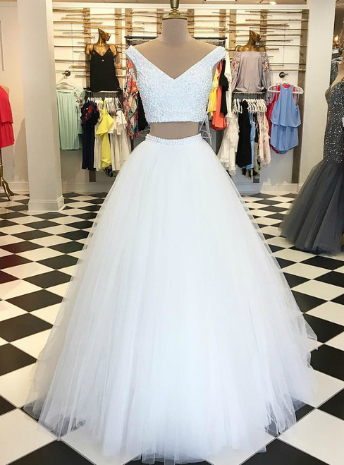 Two Piece White Long Tulle Off The Shoulder Prom Dress
