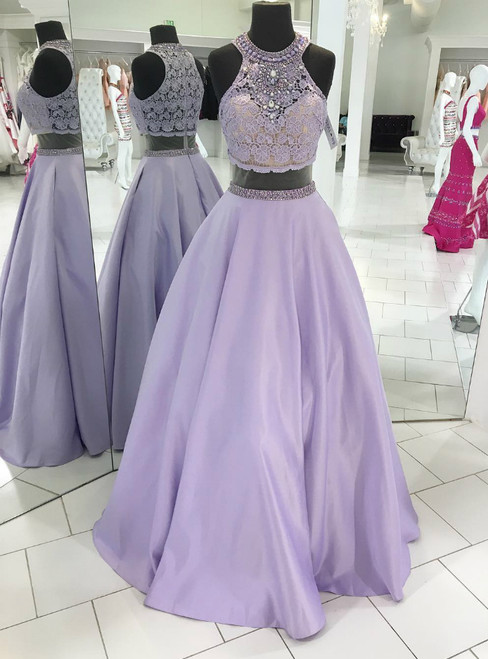 Lavender Lace Beaded High Neck Two-Piece Long Prom Dress