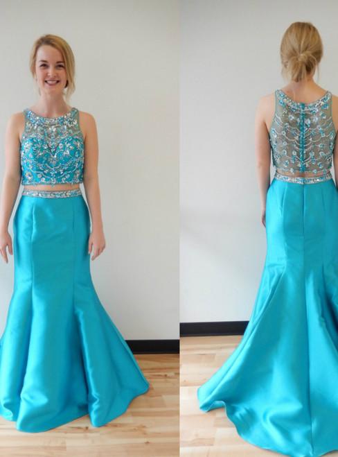 Blue Two Piece Mermaid Satin Long Beading Prom Dress