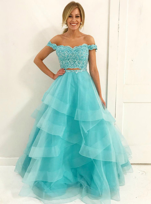 A-Line Off Shoulder Two Piece Tulle Blue Long Prom Dresses
