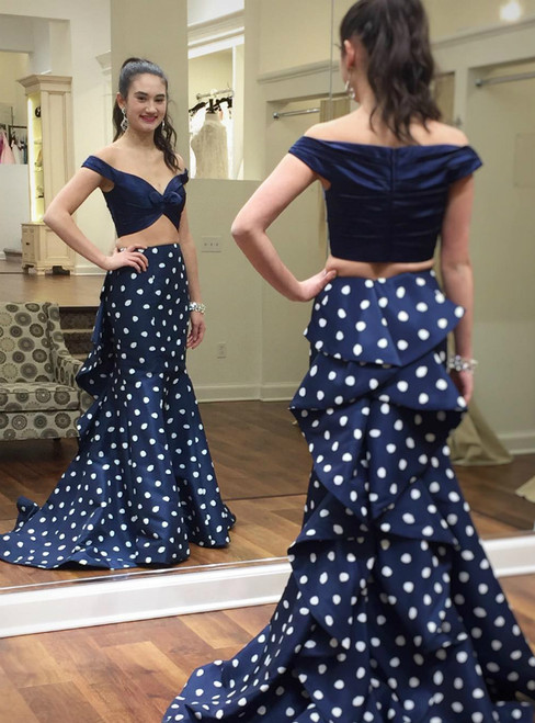 Two Piece Blue Satin Polk Dots Mermaid Long Prom Dress