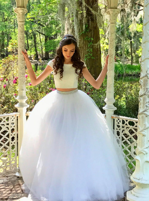 Two Piece Off the shoulder Long White Long Prom Dress