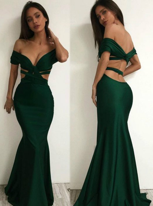 Dark Green Off The Shoulder Sexy Backless Bodice Evening Dress