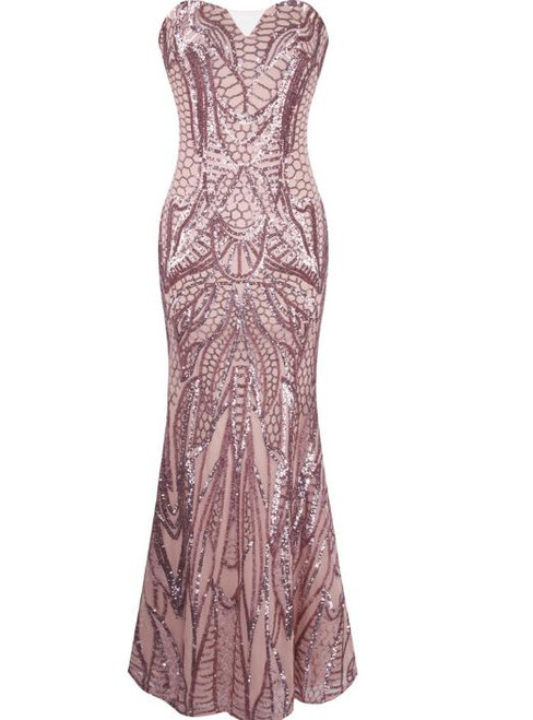 In Stock:Ship in 48 hours Mermaid Pink Sweetheart Sequins Prom Dress