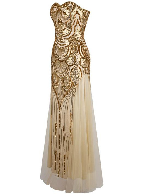 In Stock:Ship in 48 hours Mermaid Gold Sequins Sweetheart Prom Dress