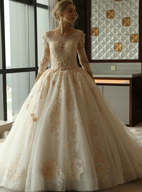 Luxurious Long Trailing Flower Ball Gown Wedding Dress