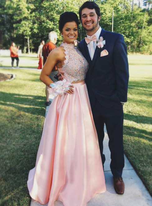 Two Piece Prom Dresses 2017,High Neck Lace and Satin Vintage Prom Dresses Long