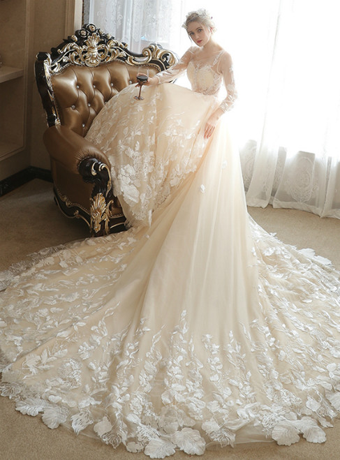 Sexy Long Sleeve Lace Tulle Ivory Haute Couture Wedding Dresses