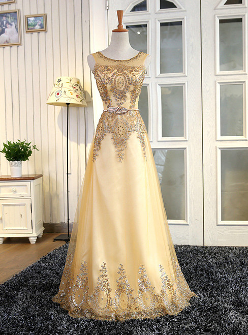 In Stock:Ship in 48 hours Gold Tulle Appliques Prom Dress
