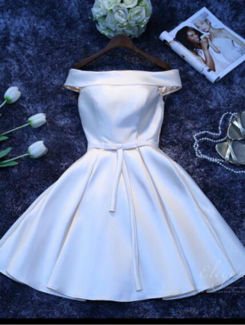 In Stock:Ship in 48 hours Off The Shoulder Satin Homecoming Dress
