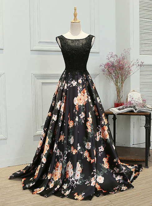 In Stock:Ship in 48 hours A-line Black Print Prom Dress