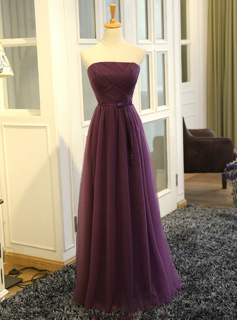 In Stock:Ship in 48 hours Strapless Purple Tulle Bridesmaid Dress