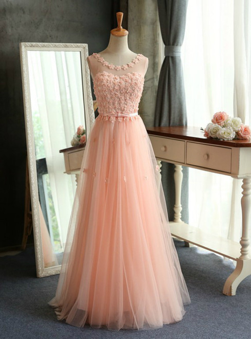In Stock:Ship in 48 hours A-line Pink Appliques Tulle Prom Dress
