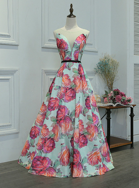 In Stock:Ship in 48 hours A-line Satin Print Prom Dress