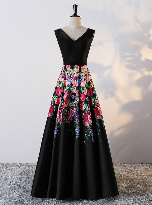 In Stock:Ship in 48 hours A-line Black Satin Print Prom Dress