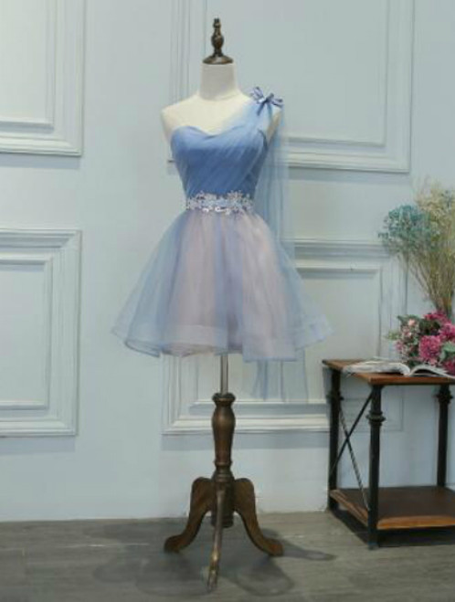 In Stock:Ship in 48 hours One Shoulder Blue Tulle Homecoming Dress