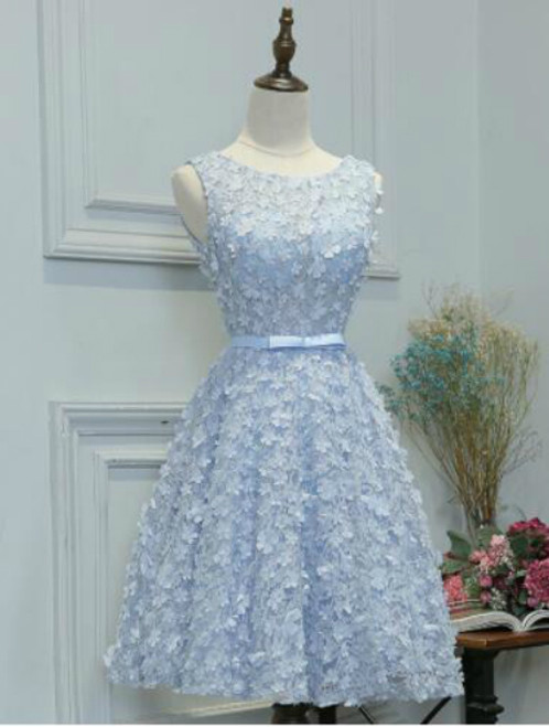 In Stock:Ship in 48 hours Blue Appliques Homecoming Dress