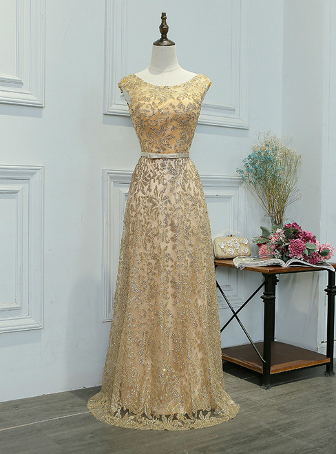 In Stock:Ship in 48 hours Gold Sequins Prom Dress