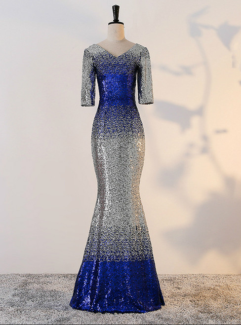 In Stock:Ship in 48 hours Mermaid Short sleeve Sequins Prom Dress