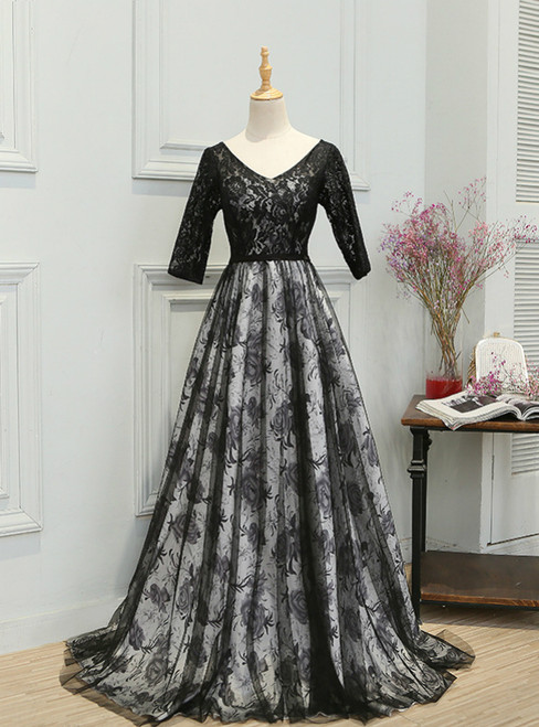 In Stock:Ship in 48 hours V-neck Half Sleeve Lace Prom Dress