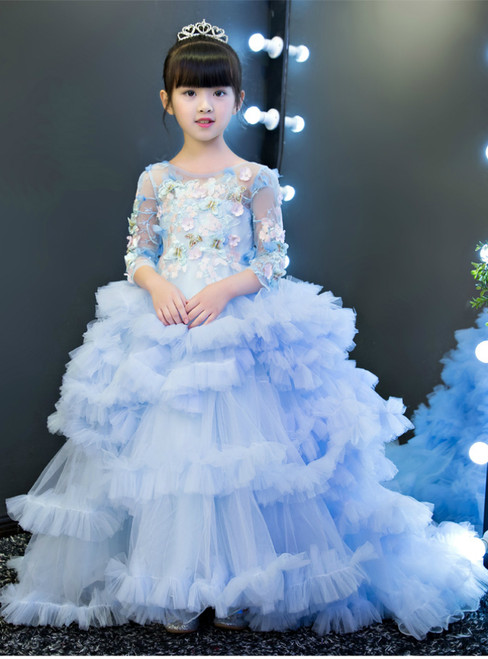 Ball Gown Long Sleeve Tulle Appliques Flower Girl Dress