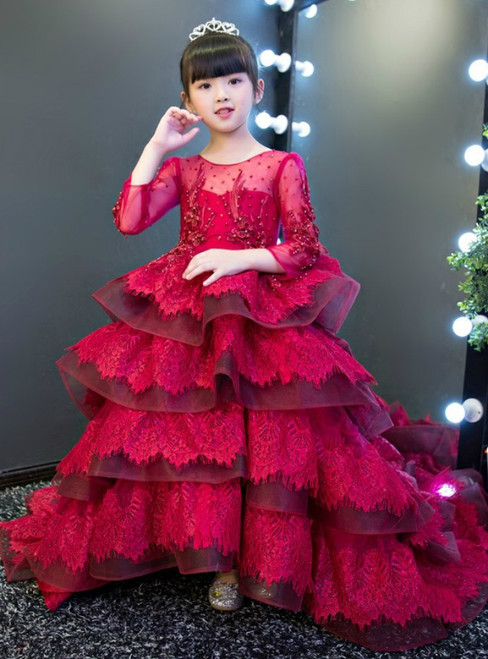 Burgundy Long Sleeve Ruffles Lace Flower Girl Dress