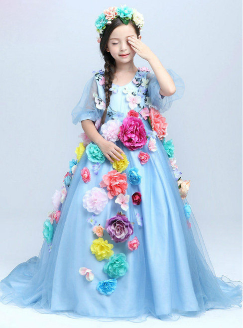 Ball Gown Blue Tulle Flower Long Sleeve Flower Girl Dress