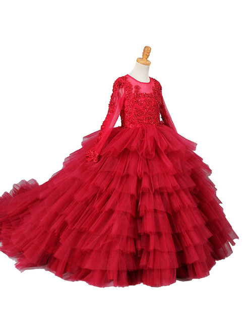 Red Ball Gown Flower Girl Dresses Long Sleeve Beaded Appliques Tiered Tulle