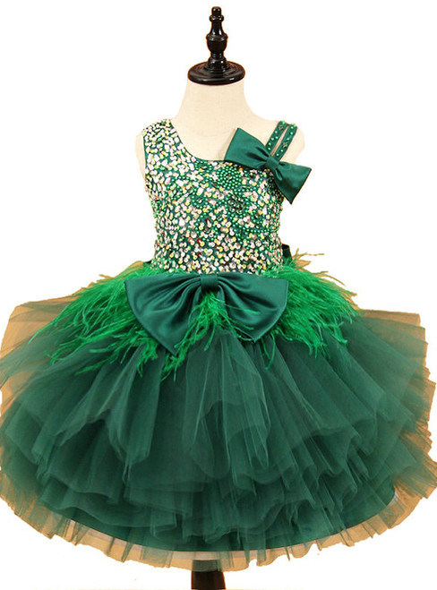 Sleeveless Beadings Feather Tulle Flower Girl Dresses