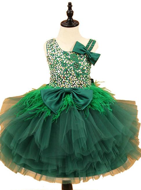 Sleeveless Beadings Feather Tulle Flower Girl Dresses