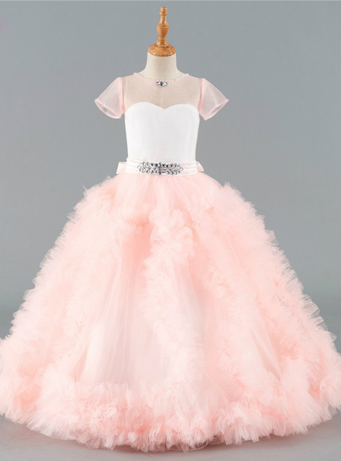 Pink Flower Girl Dresses Ball Gown Cap Sleeves Tulle Ruffles Crystals