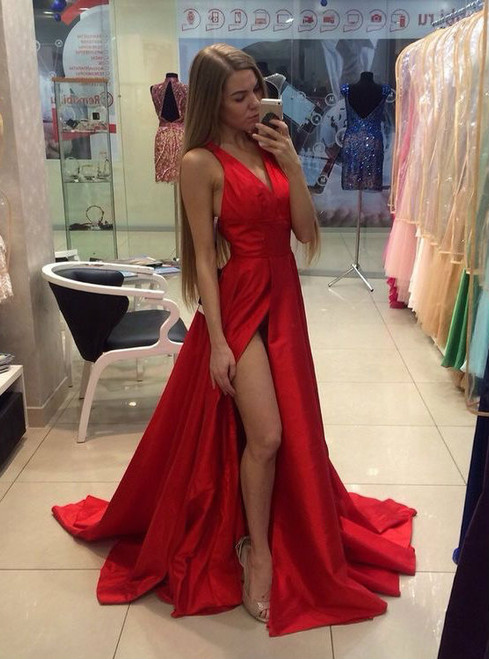 Red Satin Backless V Neckline Side Slit Sexy Prom Dresses