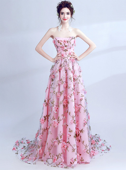 In Stock:Ship in 48 hours A-Line Strapless Pink Tulle Appliques Prom Dress