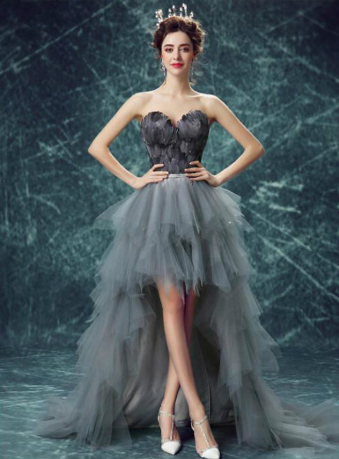 In Stock:Ship in 48 hours Hi Lo Gray Tulle Feather Open Back Prom Dress